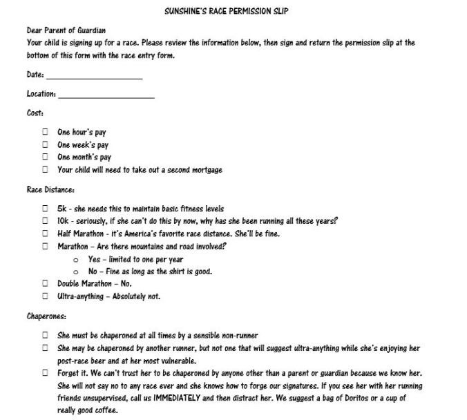 race permission slip